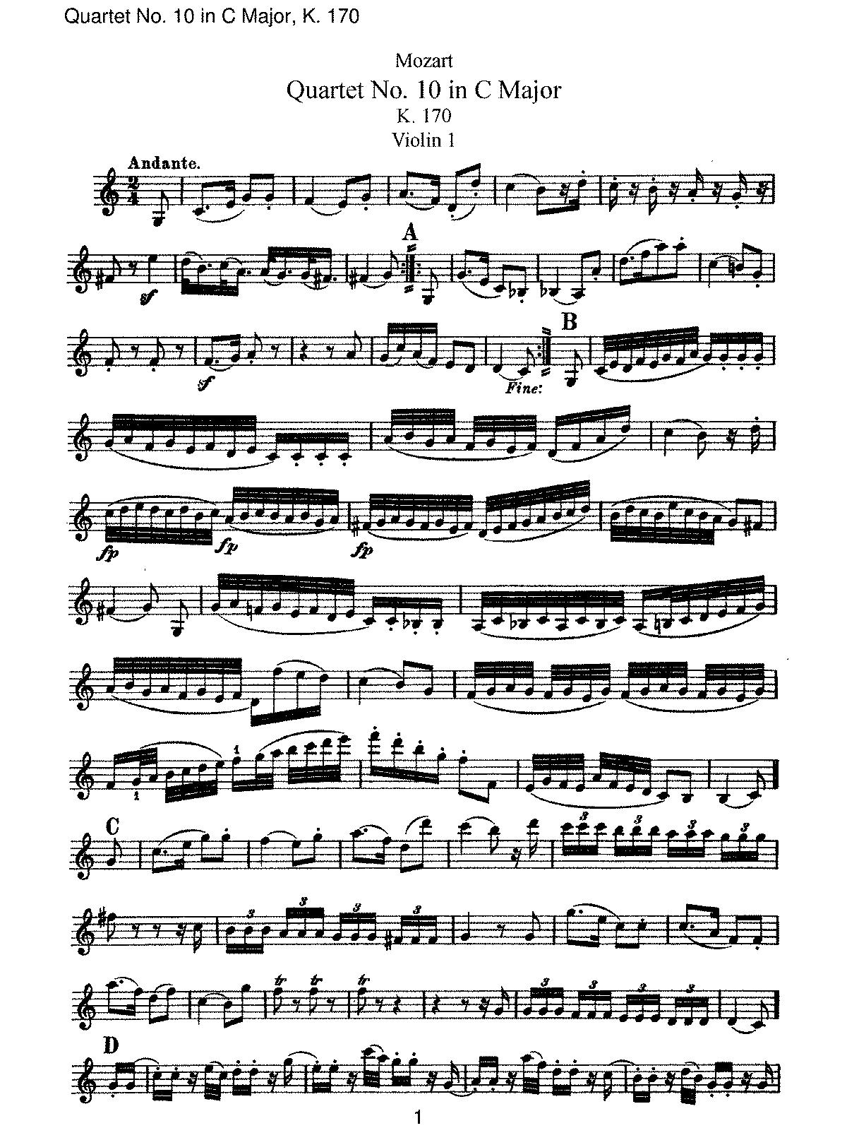 C 大调第十号弦乐四重奏, K.170
