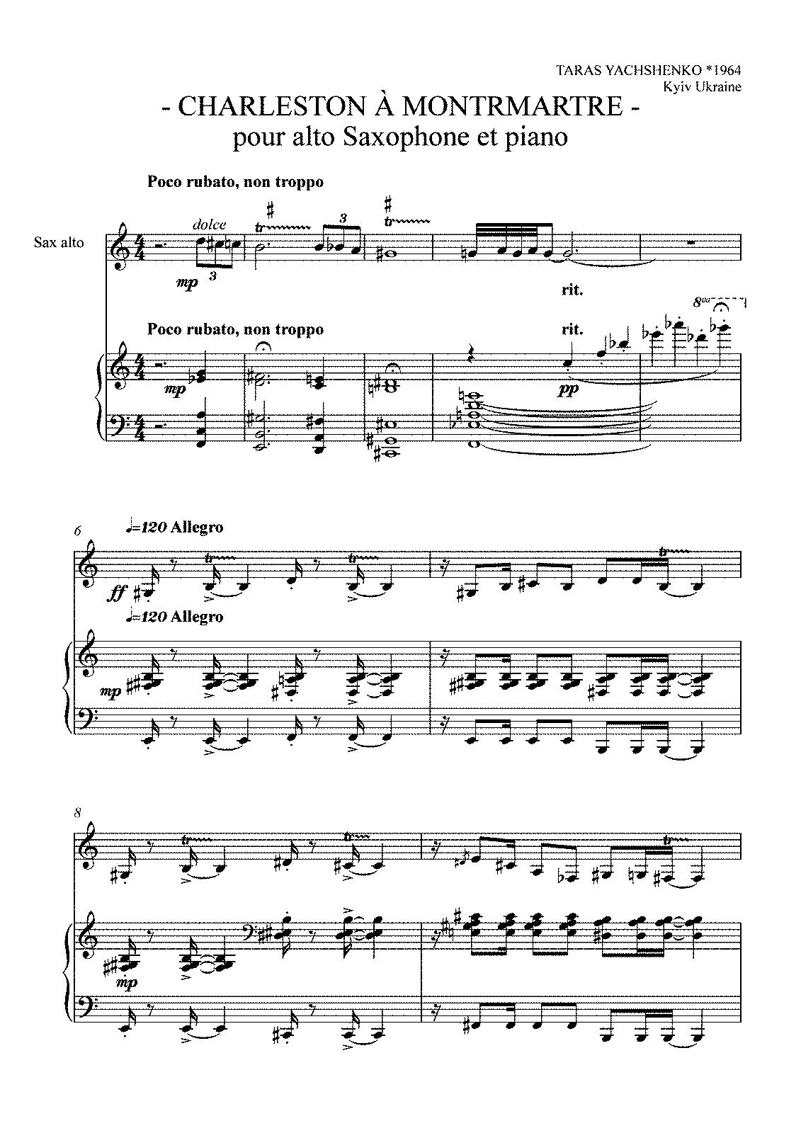 paris montmartre乐谱